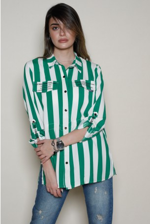 Green and White Stripes Buttoned Up  Top  IN ORDER