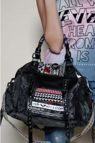 Designed Black Denim Hand  Bag ATTITUDE