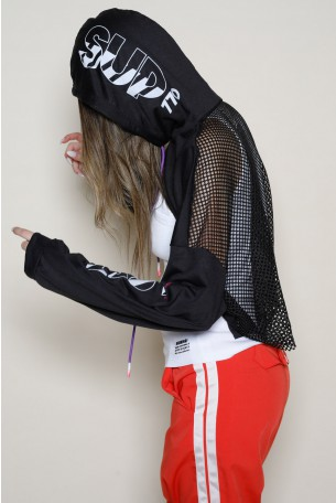 Black Hooded Netted Top LOST