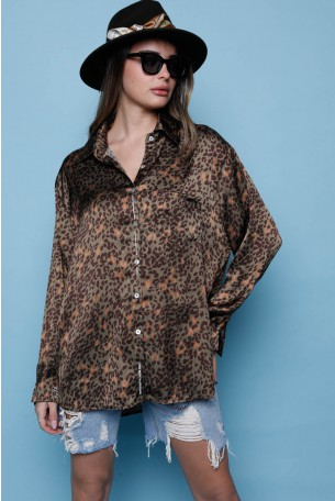 Leopard Satin  Long Sleeve  Buttoned Up  Top  LIMITED