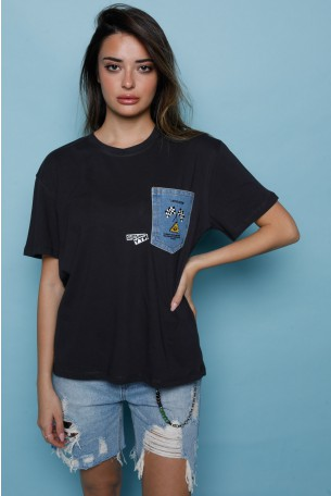 Black Designed  T Shirt SEVENTY