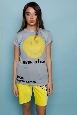 Light Blue Gray Designed  T Shirt SMILE