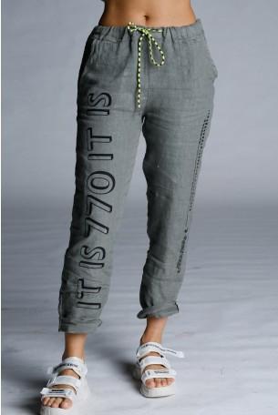 Designed Olive Green Linen Pants WARNING