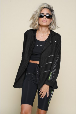 Black Loose Linen Blazer Cut  Jacket NEW YORK