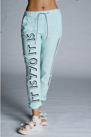 Designed Mint Green Linen Pants WARNING