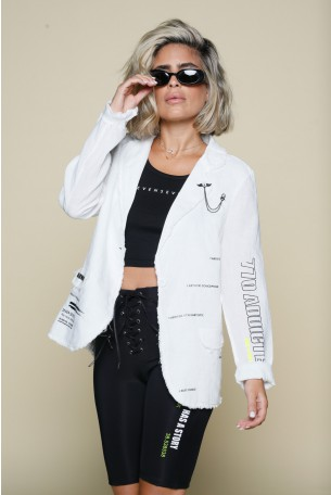 White Loose Linen Blazer Cut  Jacket NEW YORK