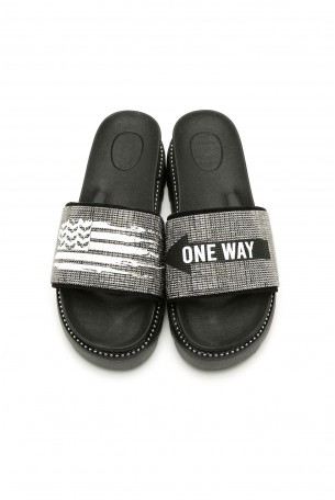 Silver Color Rhinestones Slides ONE WAY
