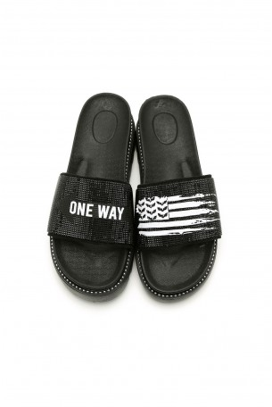 Black Rhinestones Slides ONE WAY
