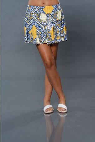 Blue Yellow Mini Skirt TOO MUCH