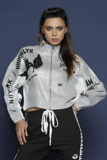 Shiny Gray   Pullover Top Jacket WARNING