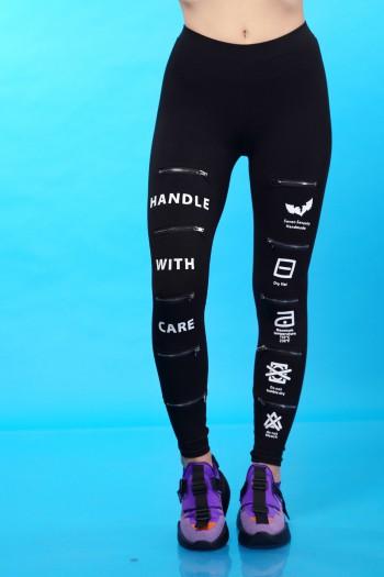Black Leggings Zippers CARE