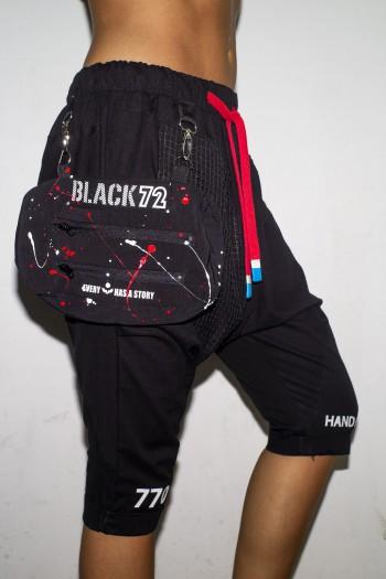 Black Sacky Pants With Side Bag BLACK