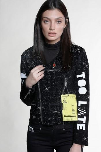 Black Rhinestones Designed Sporty Jacket NEVER