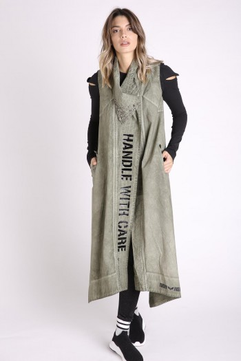 Decorated Printed Long Jacket Vest CARE