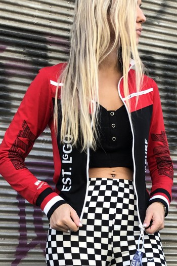 Black And Red Designed Sporty Jacket Top LIVE