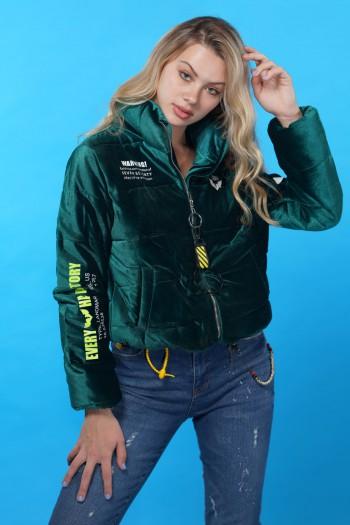 Green Velvet Coat Jacket BACK PACK