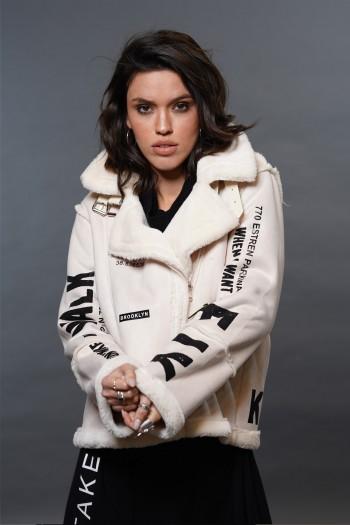 Ivory Designed Faux Leather Jacket FLY