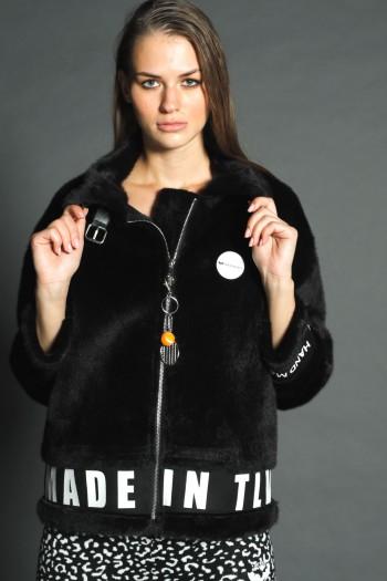 Black Faux Fur Designed Jacket  MADE IN TLV