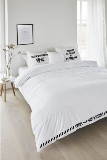 White Designed Double Bed Set WAKE UP