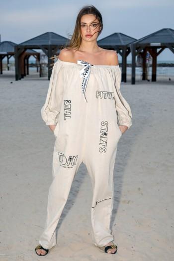 Beige Linen Baggy Short Sleeve Overall FUTURE