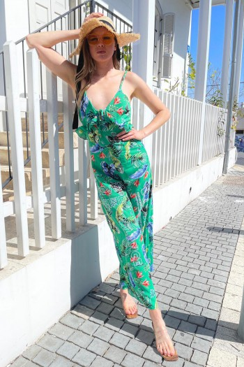 Green Colors Sleeveless Long Overall FIND