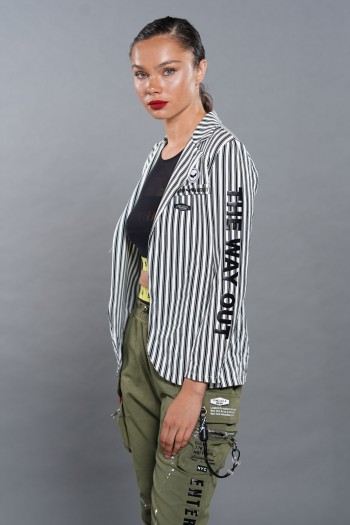 Decorated White With Black Stripes Blazer Jacket  HUMAN