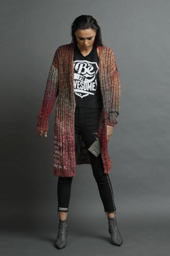 Designed Colorful  Knit Long Vest  Jacket NEED