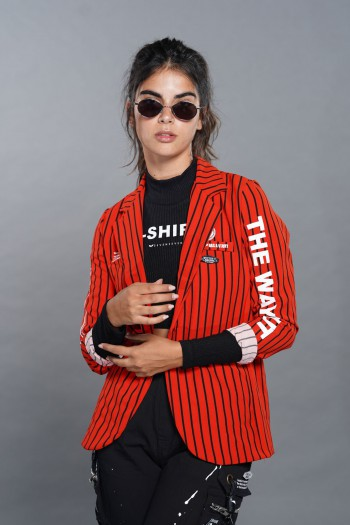 Decorated Red With Black Stripes Blazer Jacket  HUMAN
