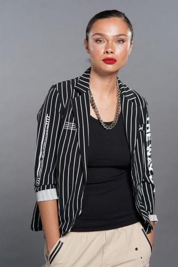 Decorated Black White Stripes Blazer Jacket  HUMAN