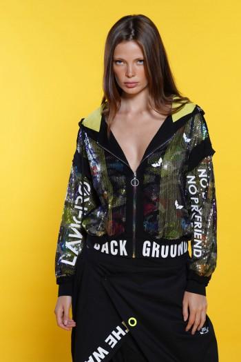 Wide Sequins Zipper Jacket GROUND