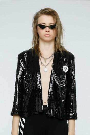 black Sequin Blazer Jacket ROCK
