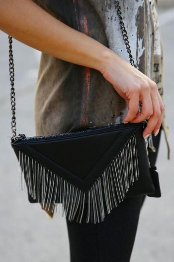 Cross Body Black Fringe Bag V