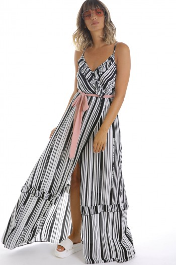 Ivory Black Stripe Elegant Long  Dress  READ