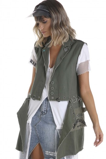 Decorated Army Style Vest MONTAUK