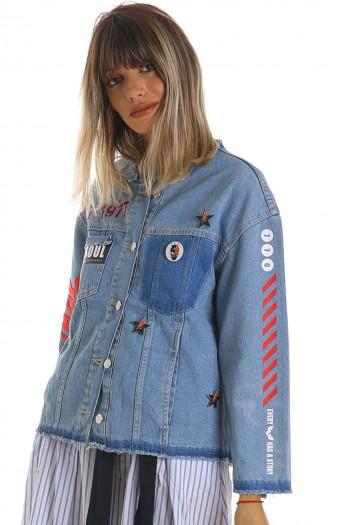 Decorated Printed Denim Jacket ORIGINAL