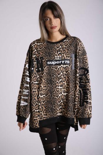 Leopard Long Sleeves Pullover Top VINTAGE