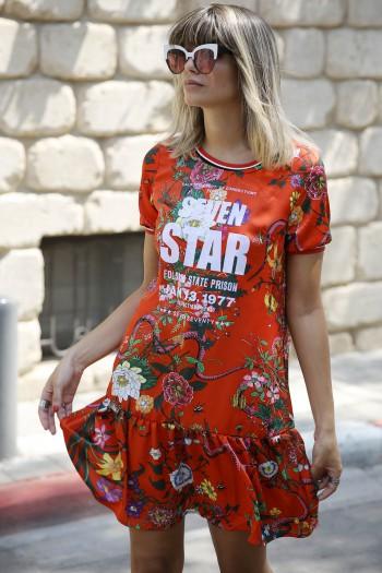 Red  Floral  Mini Dress SEVEN STAR