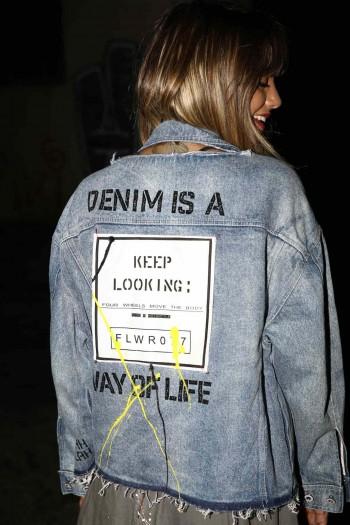 Decorated Printed Denim Jacket DENIM IS