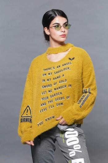 Mustard Color Fleece Sweater Top ANGEL