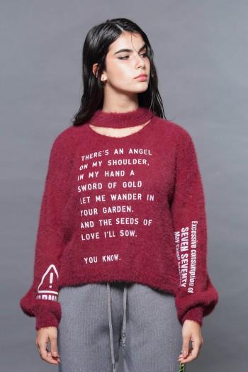 Burgundy Color Fleece Sweater Top ANGEL