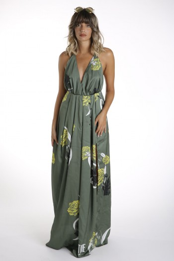 Floral Green Elegant Long Dress ADVENTURE