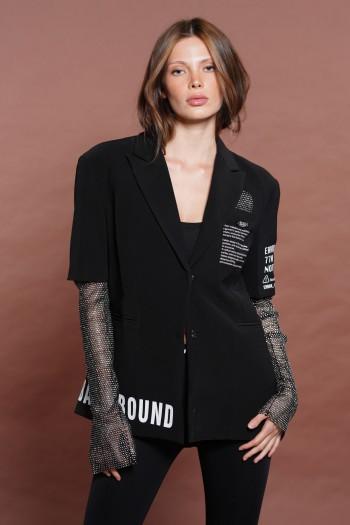 Decorated Black Blazer Jacket Rhinestones Sleeves MOVEMENT