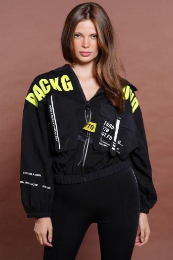 Black Designed Zipper Jacket ERROR