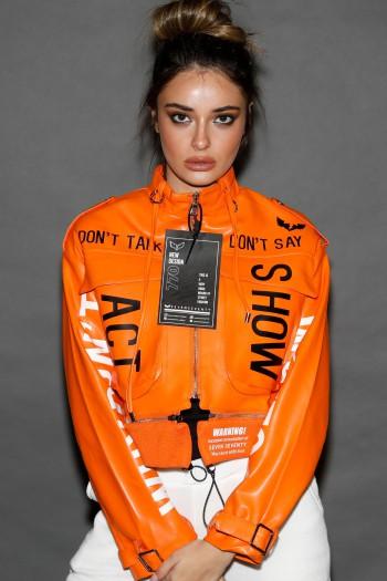 Orange Faux Leather Designed Sporty Jacket HOW