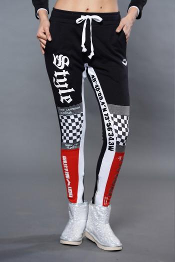 Black And  Checkered Jogger Pants RIGION