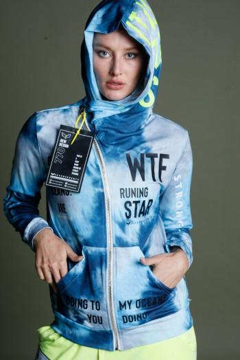 Blue Tie Dye Hooded Zipper Jacket STAR