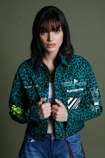 Green Leopard Denim Jacket WORLD