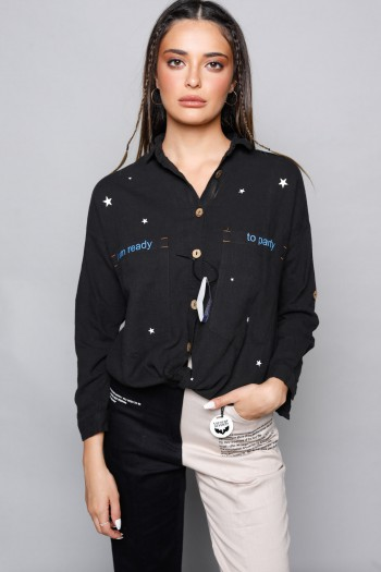 Black Long Sleeve Buttoned Up Top READY
