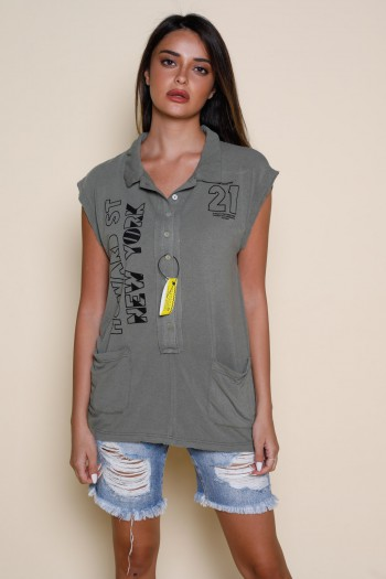 Olive green Colors No Sleeve Top NEW YORK