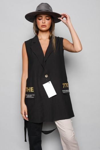 Black Designed Vest THE770